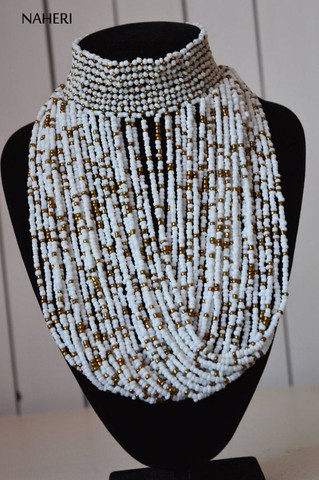 African beaded tribal choker necklace white