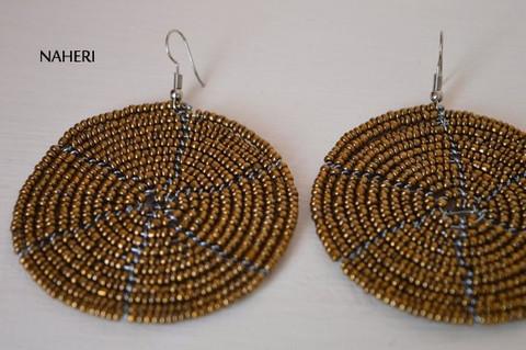 African beaded round earrings handmade and tribal