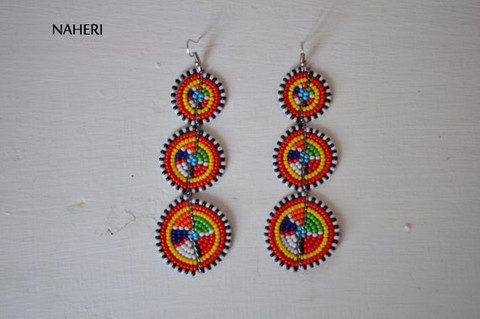 African earrings maasai beaded tribal 3 tiered jewelry