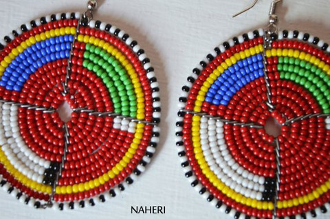 African earrings maasai beaded round multicolored jewelry