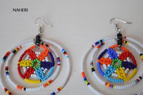 African earrings beaded white zulu jewelry