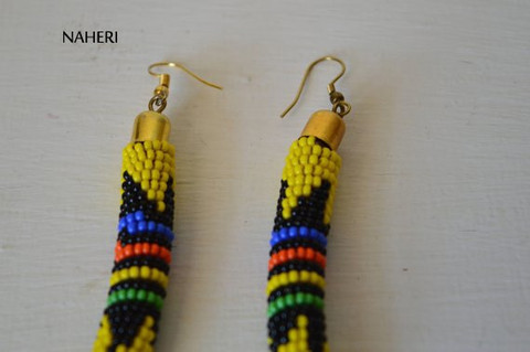 African earrings handmade zulu yellow