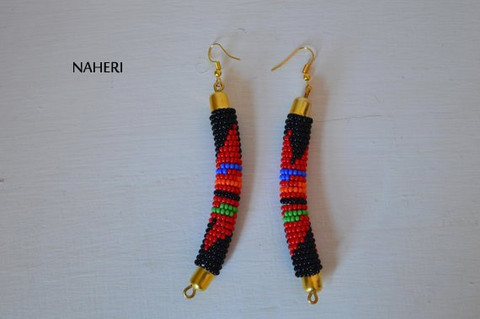 African earrings handmade zulu black