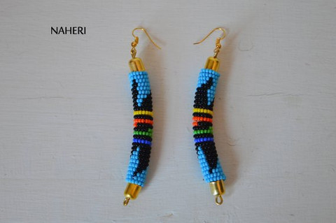 African earrings Zulu beaded sky blue fashion jewelry