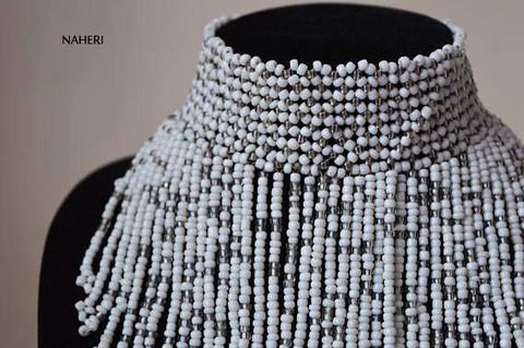 African inspired white fringe necklace short