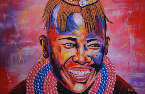 """African painting smiling maasai moran man 24"""" W x 36"""" H"""