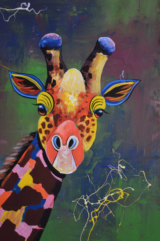 African giraffe oil painting 24x36