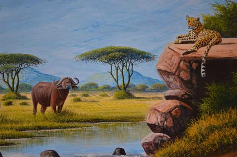 "The big five African animal oil painting lion leopard buffalo rhino elephant 36"" W x 24"" H"