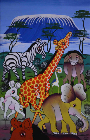 African animal kingdom oil painting