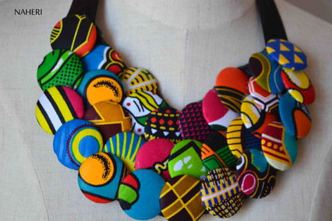 African print fabric necklace buttons