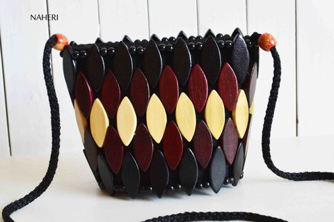 African wooden beads crossbody handbag