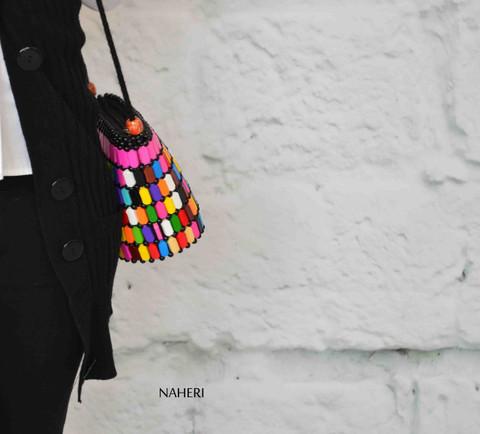 African inspired sling bag wooden beads handbag