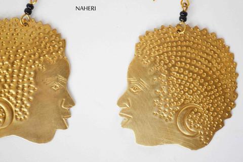 African inspired earrings brass metal woman hair