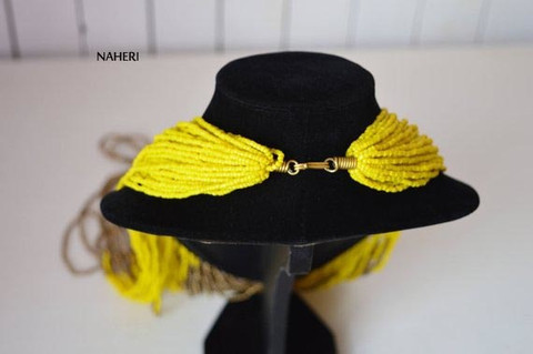 African inspired necklace yellow
