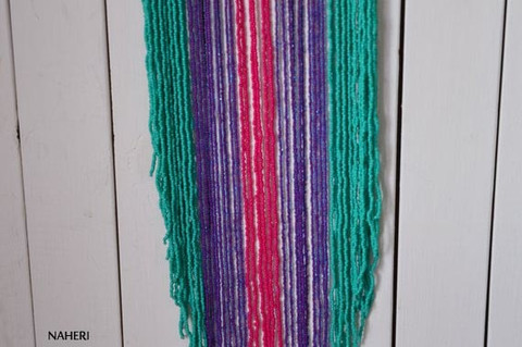 African fringe necklace long turquoise purple hot pink