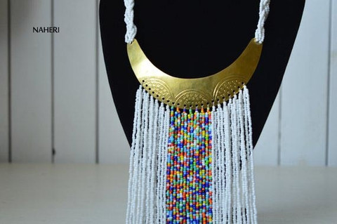 African handmade fringe necklace white with brass