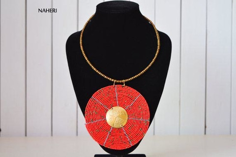 African beaded necklace red with brass jewelry