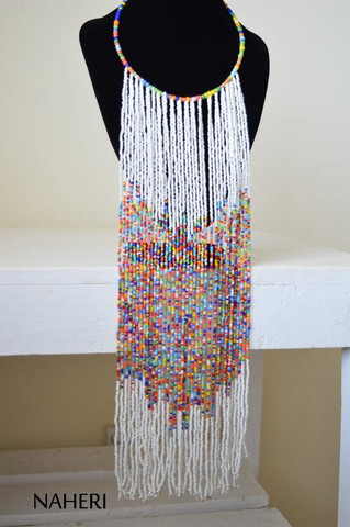 African white fringe necklace African jewelry