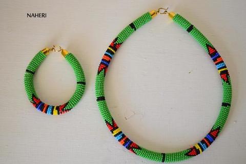 African zulu necklace green with bracelet jewelry