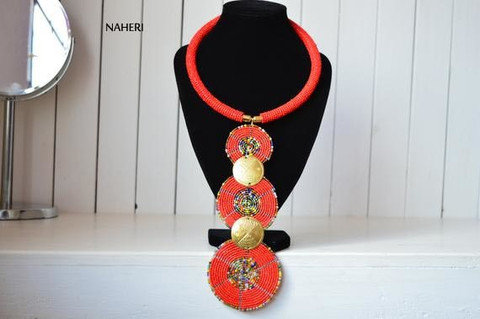 African red necklace three circles tiered jewelry