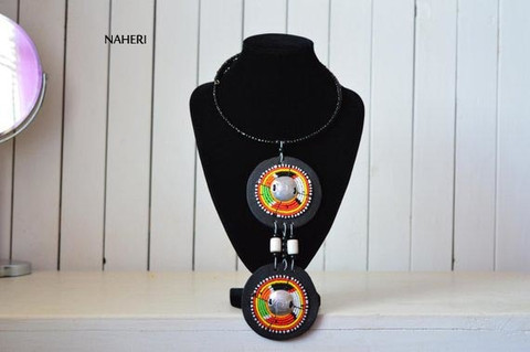 African inspired tribal necklace handmade jewelry