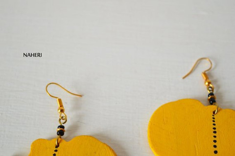yellow African map wooden earrings