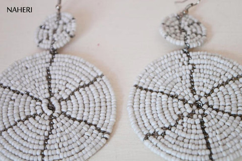 white maasai beaded two circles earrings African jewelry