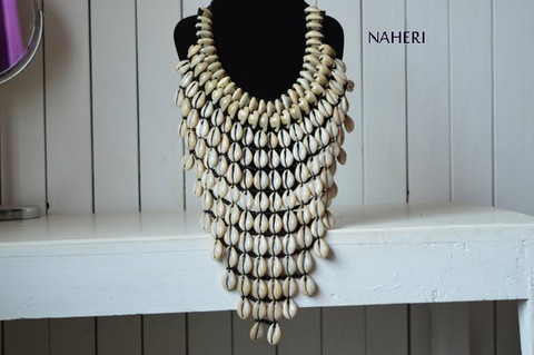 African cowrie shell necklace handmade tribal jewelry