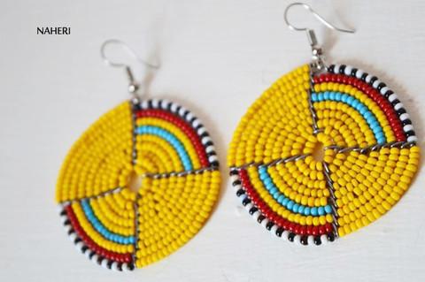 African round earrings beaded maasai jewelry