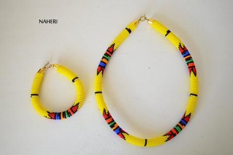 Yellow beaded necklace African Zulu handmade jewelry