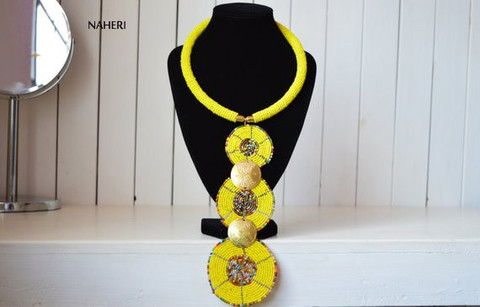 African yellow necklace three circles tiered jewelry
