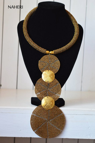 African brown tribal necklace three circles jewelry