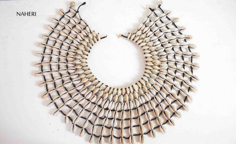 African cowrie shell collar necklace handmade tribal jewelry