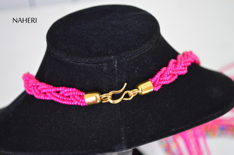 African handmade fringe necklace hot pink color with brass tribal jewelry