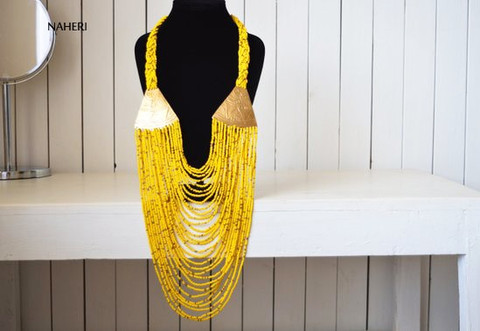 African beaded handmade necklace with brass metal