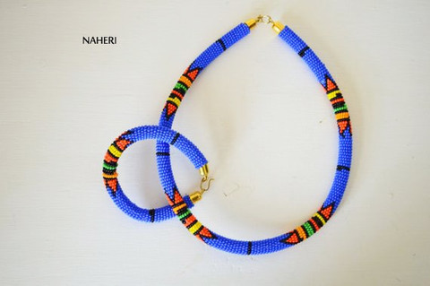 Bush blue beaded necklace African Zulu handmade jewelry