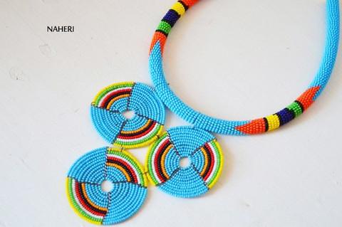 Zulu beaded necklace sky blue African tribal handmade jewelry
