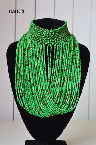 African choker necklace beaded dark green jewelry
