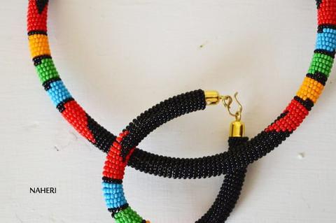 Black beaded African necklace Zulu handmade jewelry