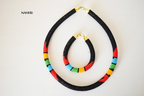 Black beaded African necklace Zulu handmade jewelry