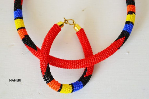 Red beaded African necklace Zulu handmade jewelry