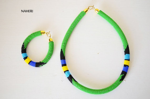 Green beaded African necklace Zulu handmade jewelry