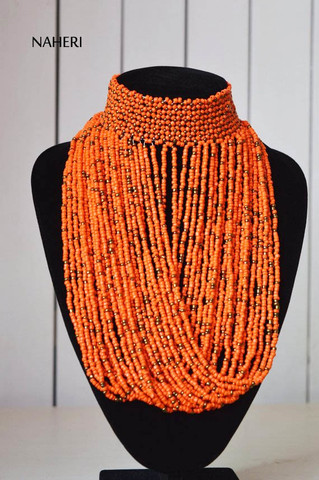 African orange choker necklace beaded tribal jewelry