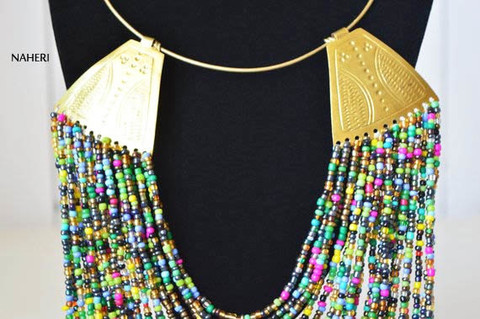 African inspired beaded necklace with brass