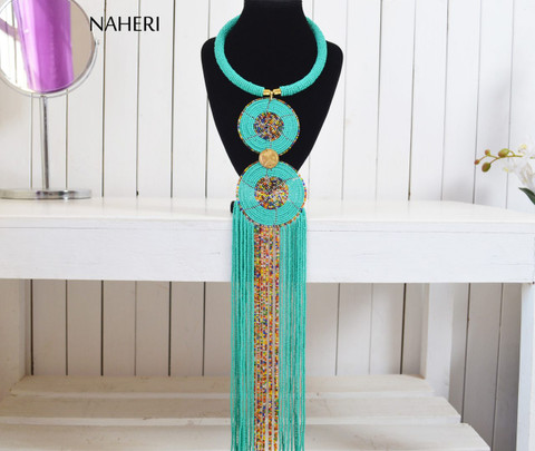 African beaded turquoise fringe pendant necklace African tribal jewelry