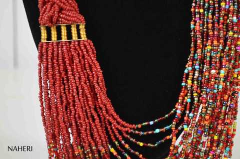 African beaded deep red chunky statement necklace African tribal jewelry