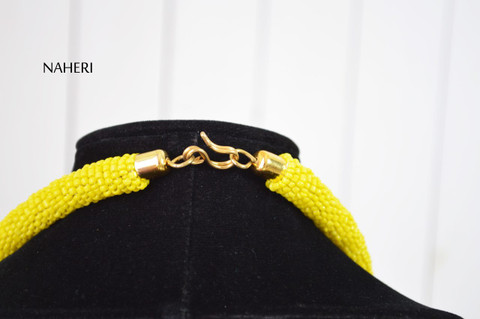 African tribal beaded yellow fringe necklace with brass African jewellery