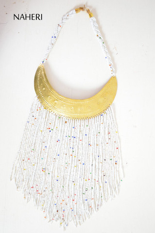 African beaded tribal white fringe necklace with brass African jewelry