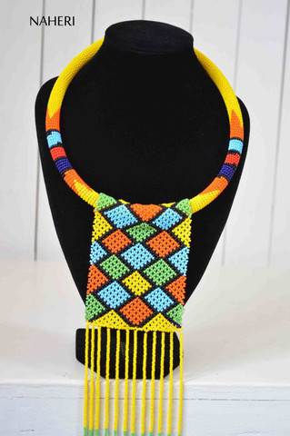 African zulu maasai necklace beaded fringe statement neck piece tribal jewelry