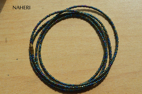 African waist beads chameleon green beaded jewelry
